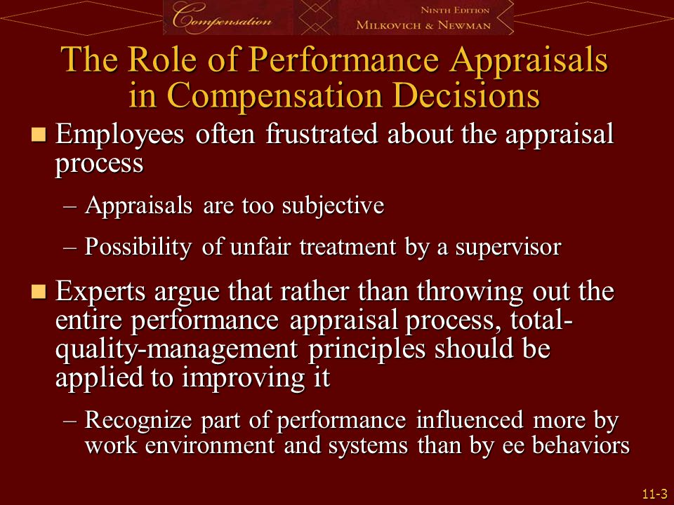 The Role of Performance Appraisals in Compensation Decisions