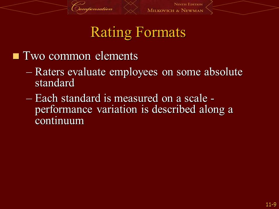 Rating Formats Two common elements