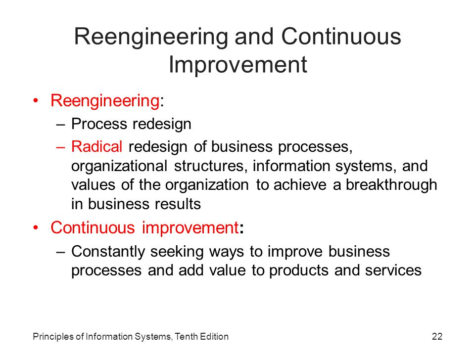Reengineering and Continuous Improvement