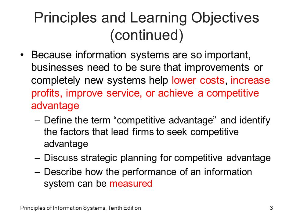Principles and Learning Objectives (continued)