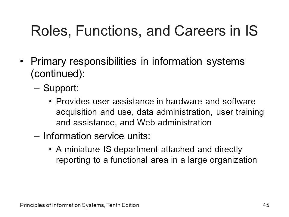 Roles, Functions, and Careers in IS