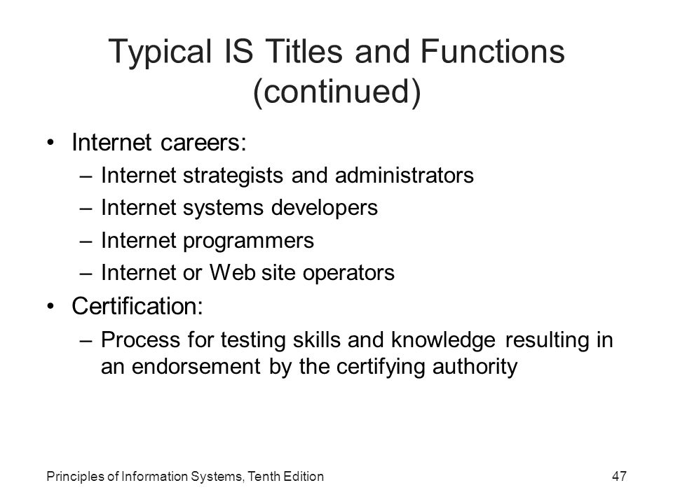 Typical IS Titles and Functions (continued)