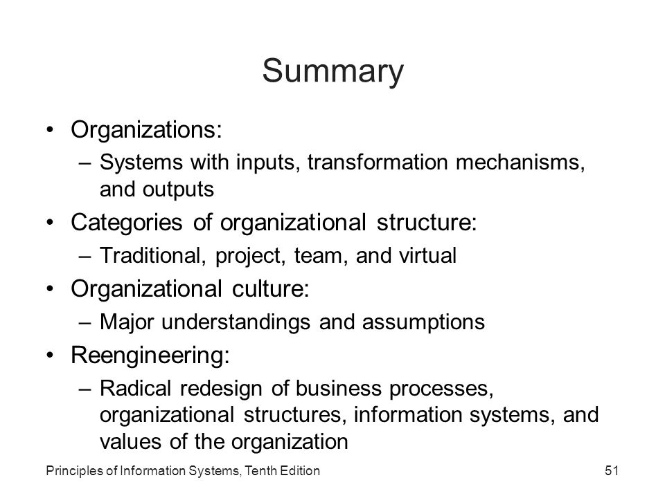Summary Organizations: Categories of organizational structure: