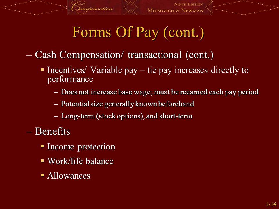 Forms Of Pay (cont.) Cash Compensation/ transactional (cont.) Benefits