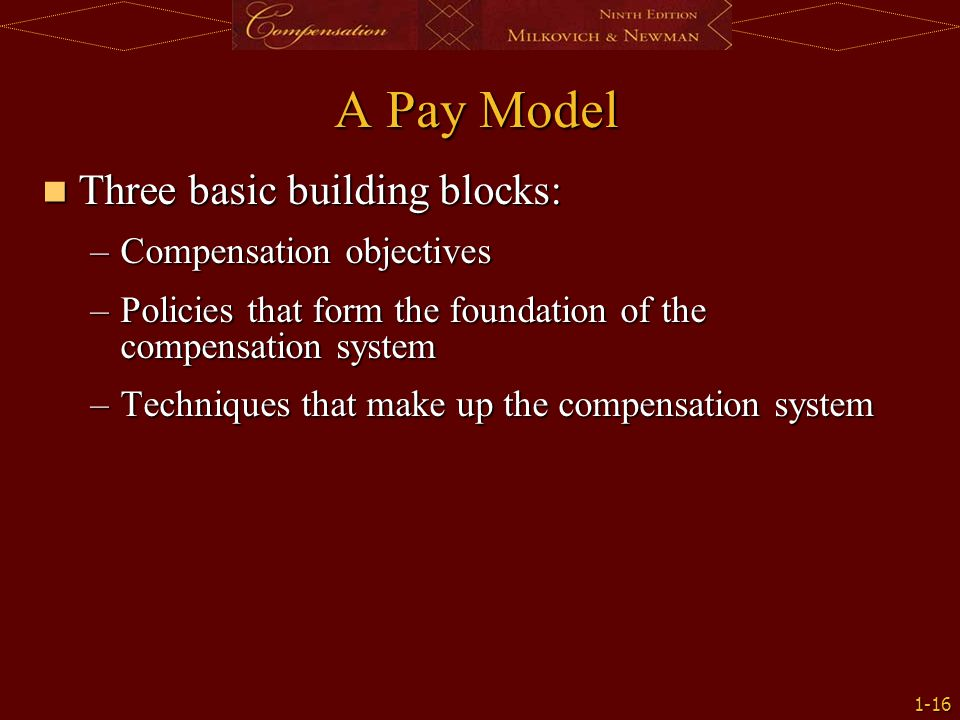 A Pay Model Three basic building blocks: Compensation objectives