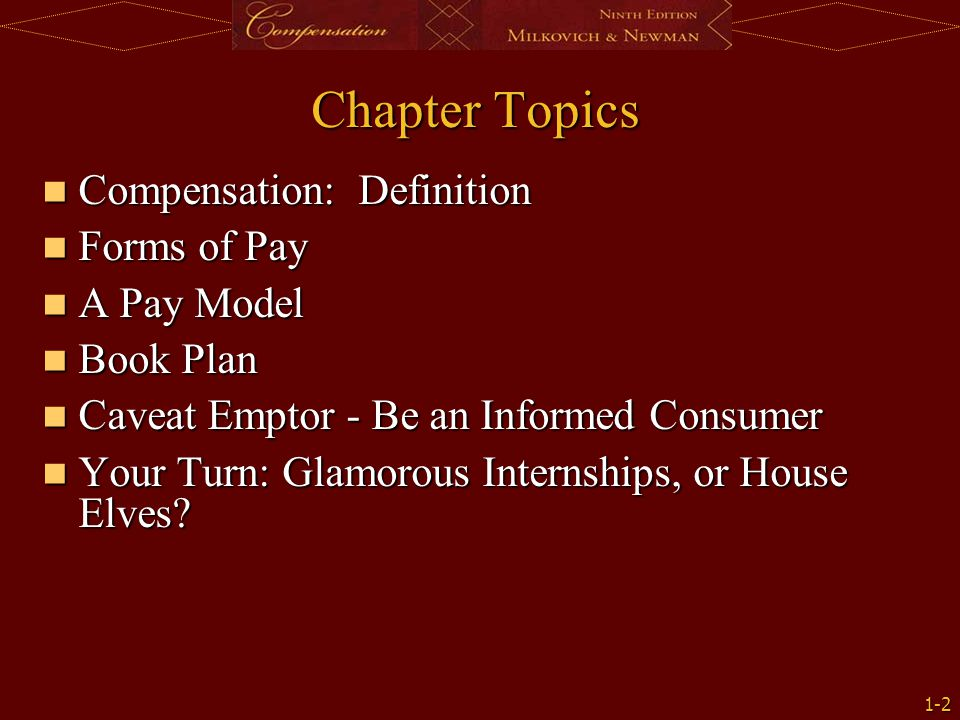 Chapter Topics Compensation: Definition Forms of Pay A Pay Model