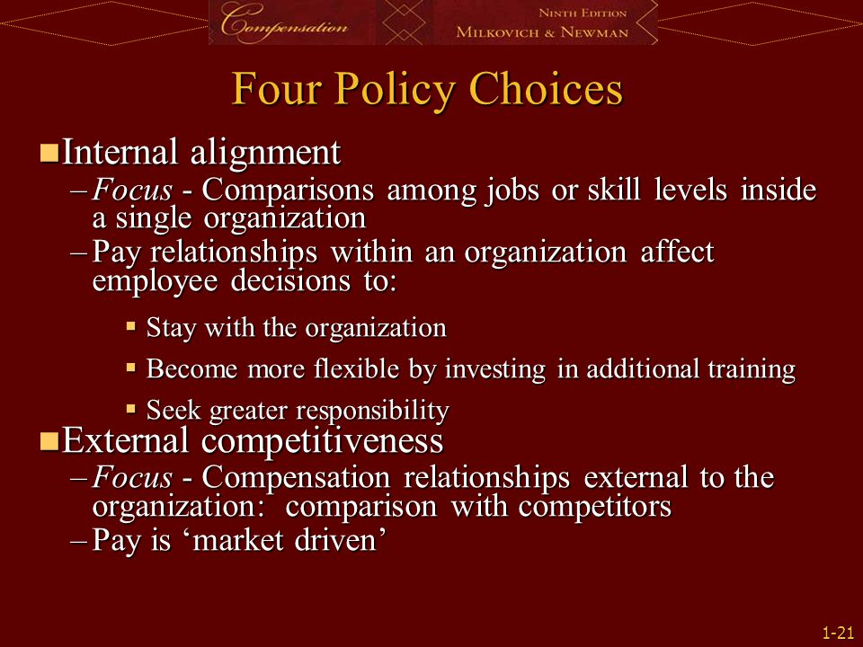 Four Policy Choices Internal alignment External competitiveness
