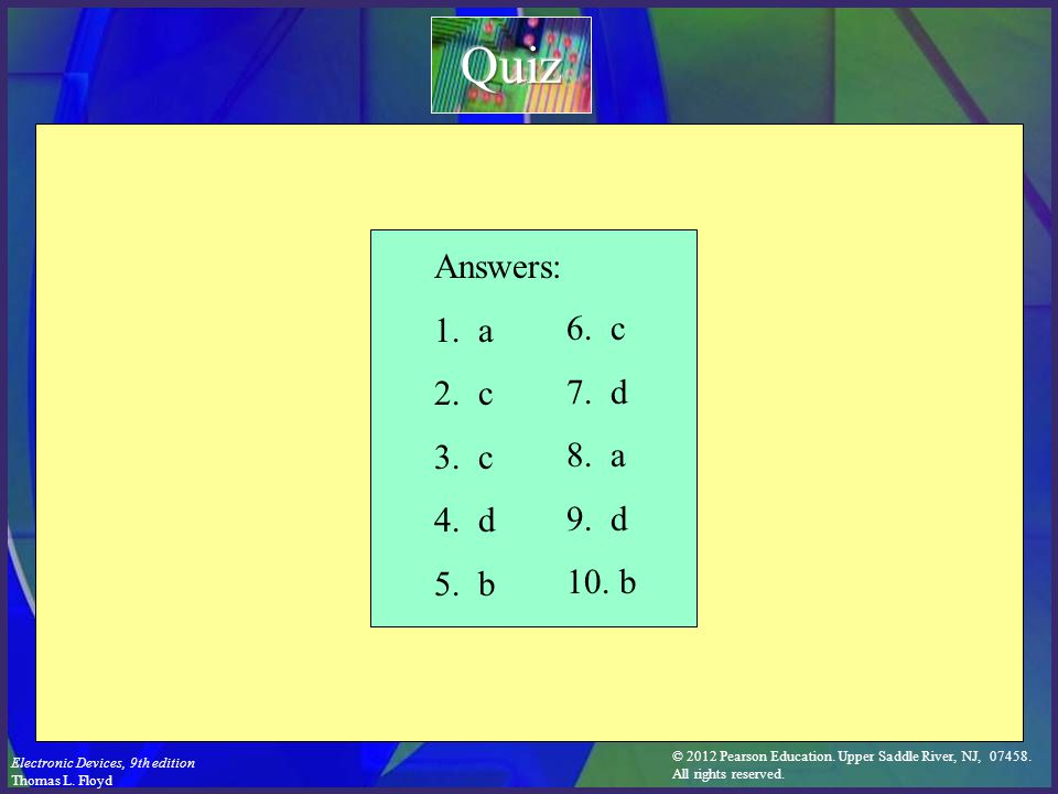 Quiz Answers: 1. a 2. c 3. c 4. d 5. b 6. c 7. d 8. a 9. d 10. b