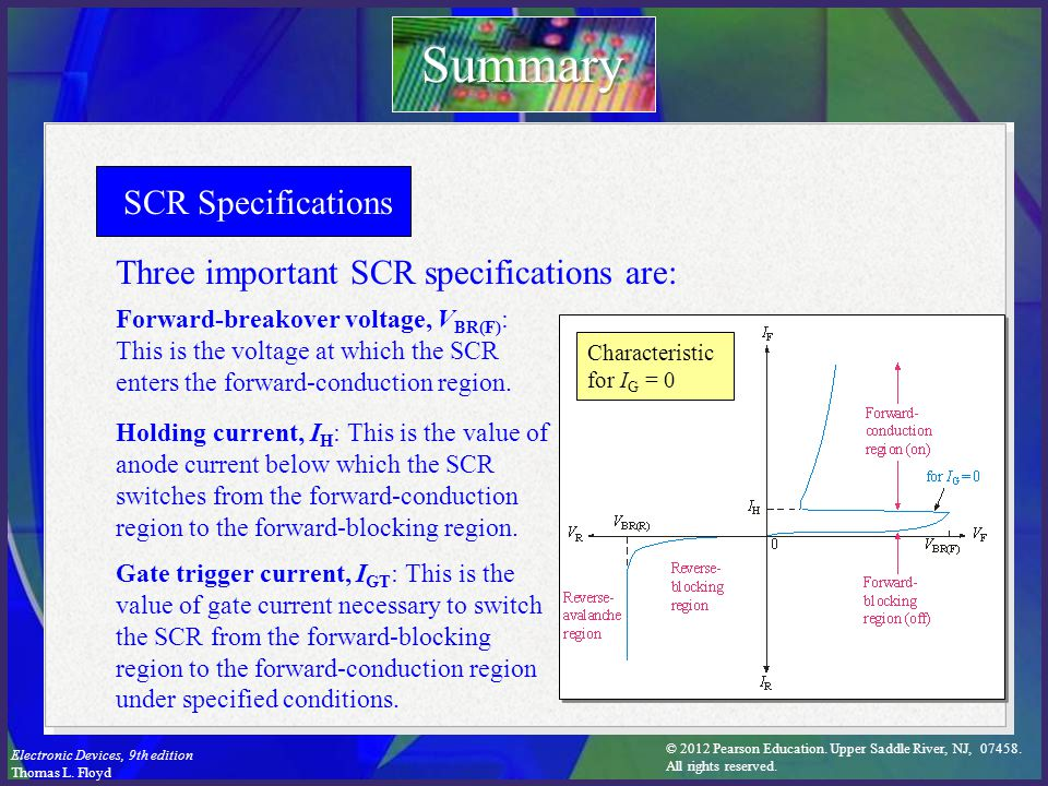 Summary SCR Specifications Three important SCR specifications are: