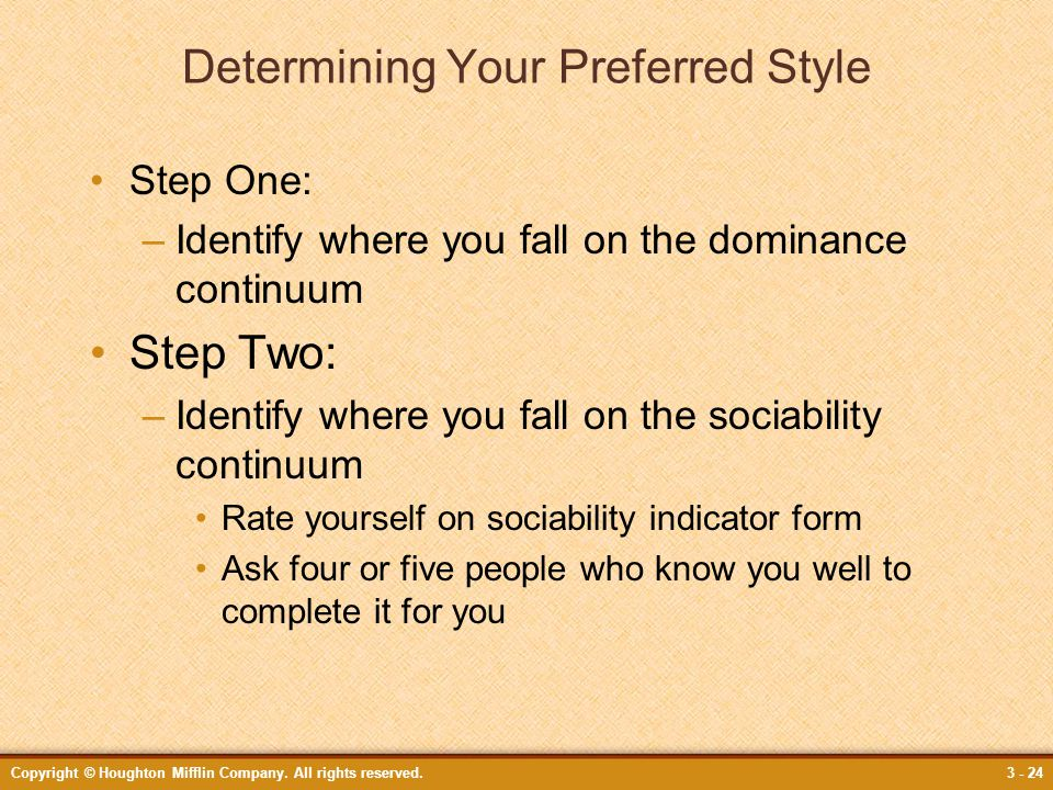 Determining Your Preferred Style