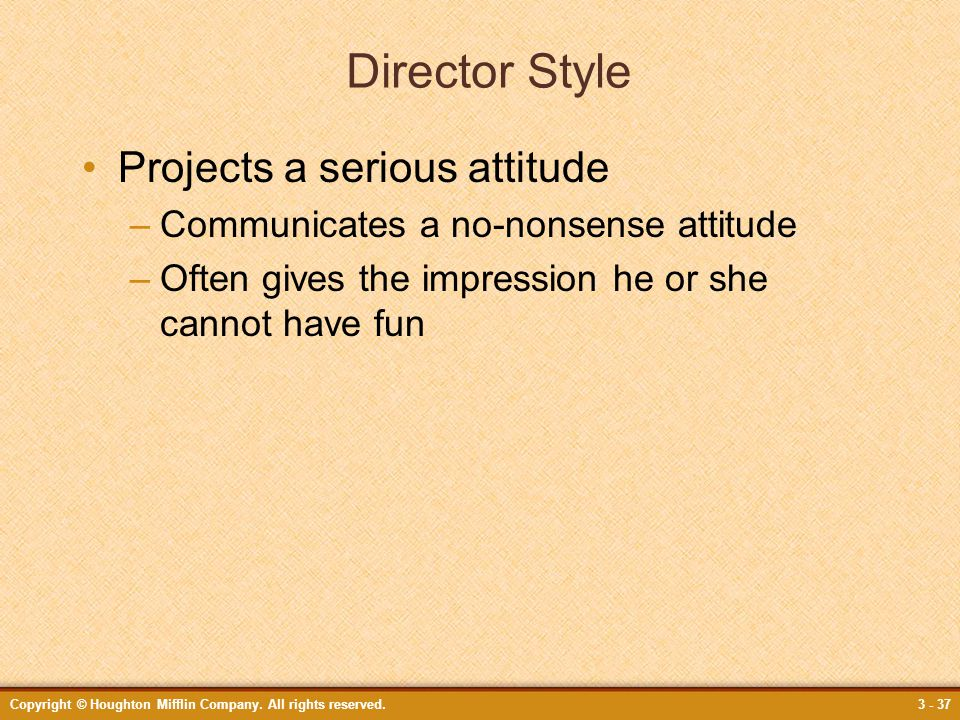 Director Style Projects a serious attitude