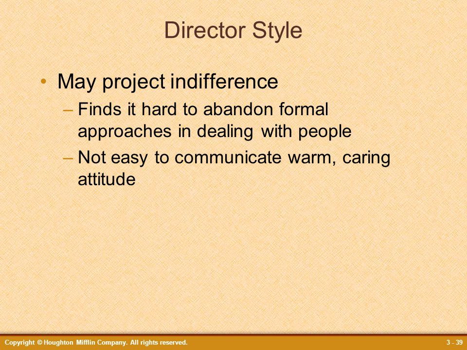 Director Style May project indifference