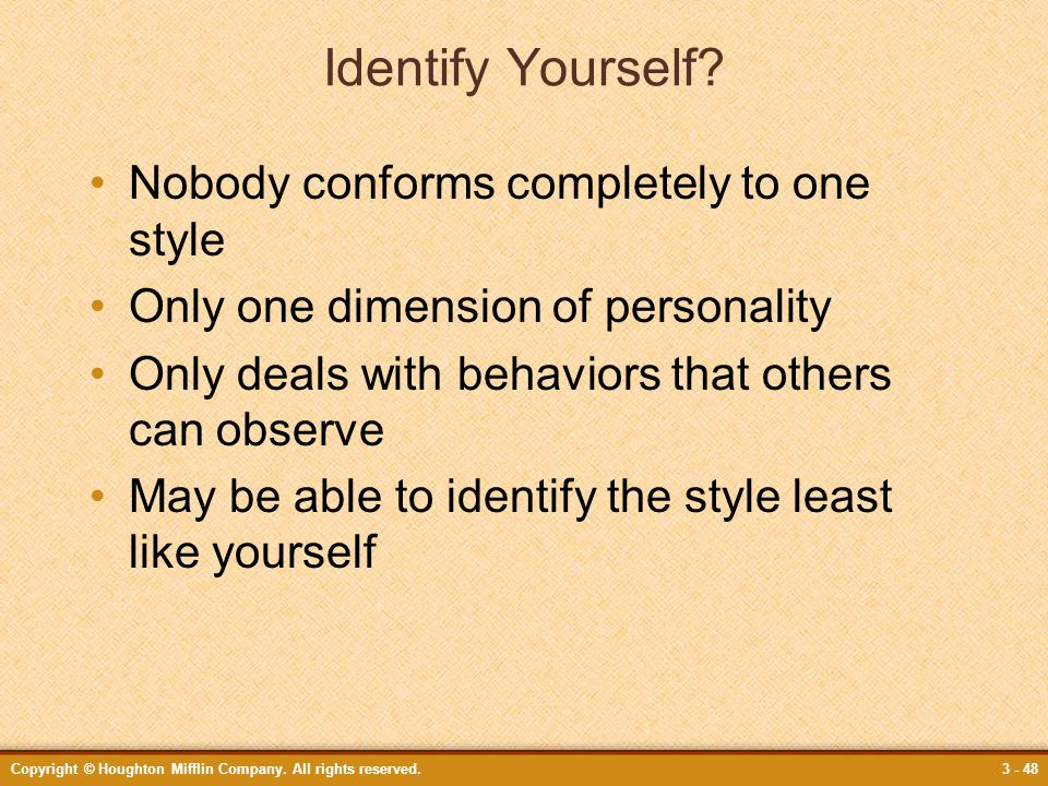 Identify Yourself Nobody conforms completely to one style