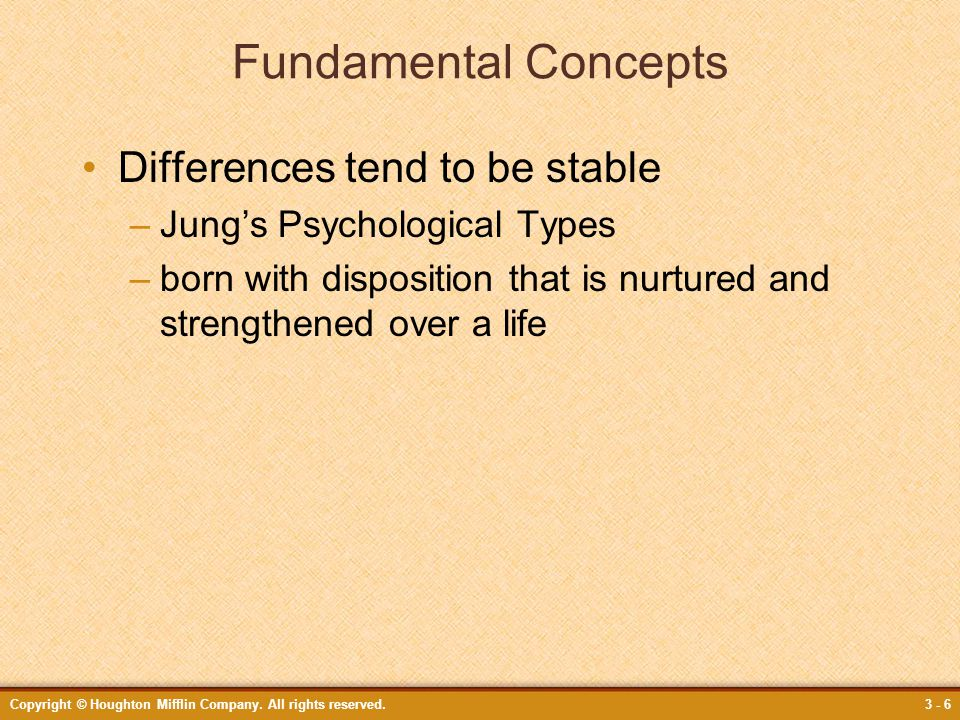 Fundamental Concepts Differences tend to be stable