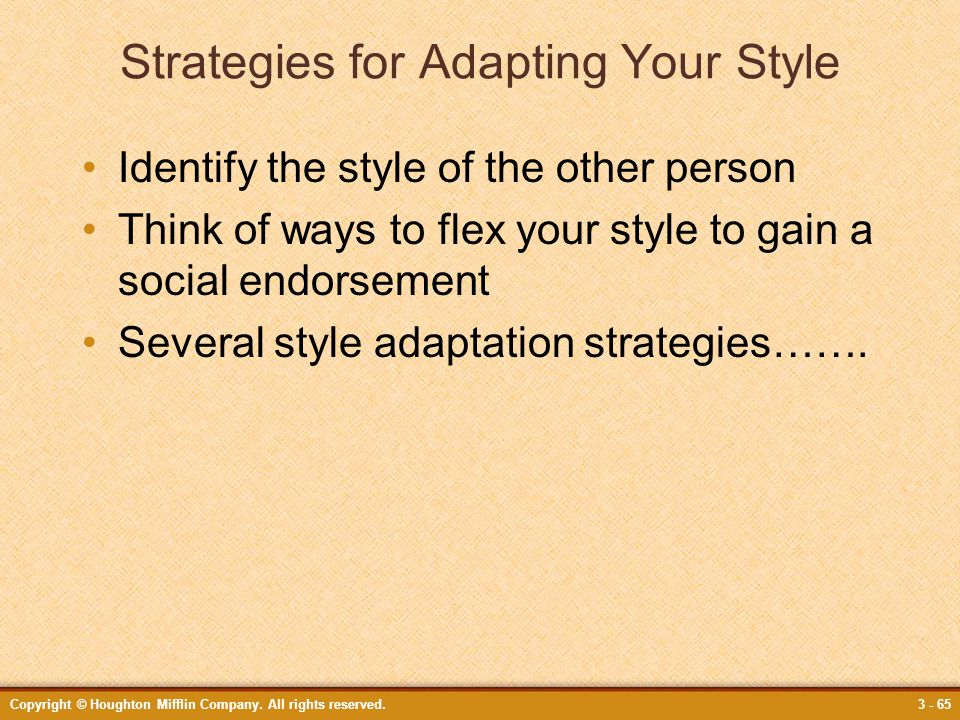 Strategies for Adapting Your Style