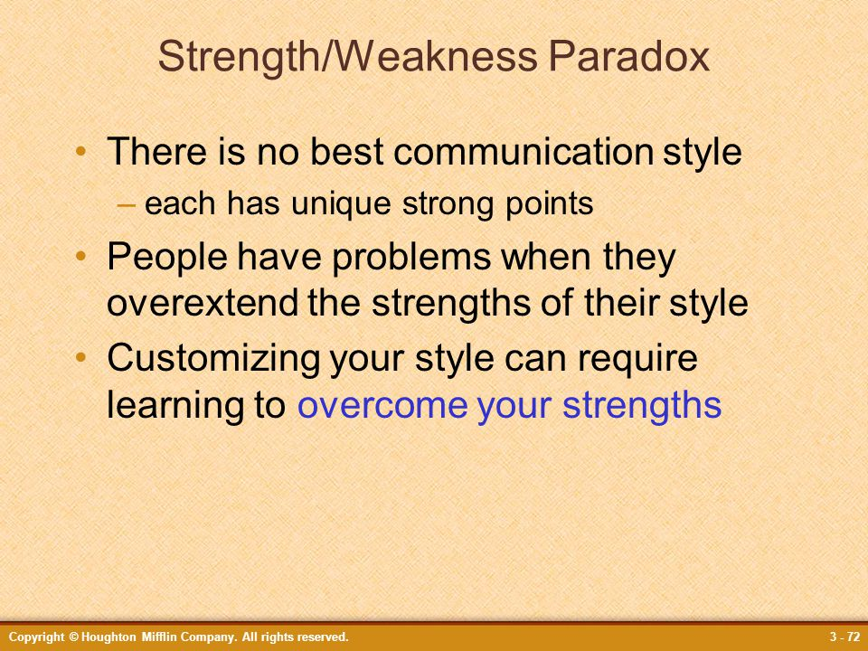 Strength/Weakness Paradox