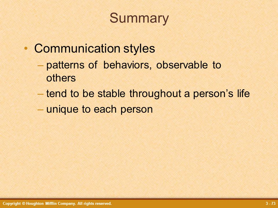 Summary Communication styles