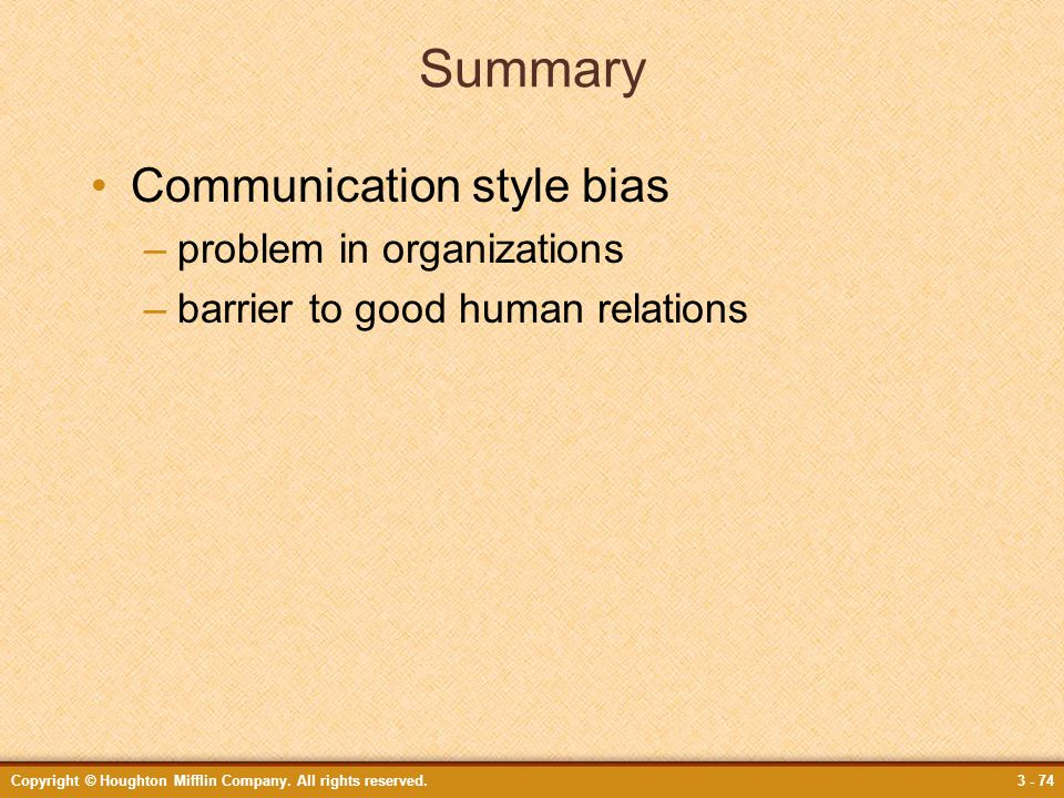 Summary Communication style bias problem in organizations