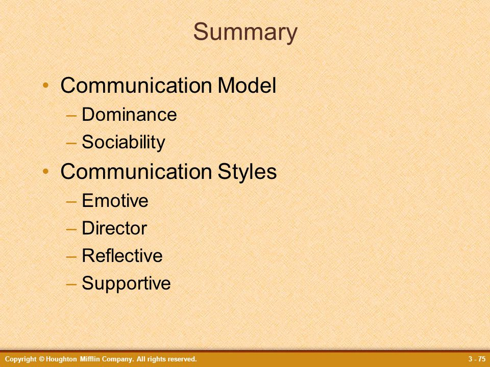 Summary Communication Model Communication Styles Dominance Sociability