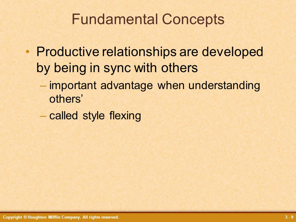 Fundamental Concepts Productive relationships are developed by being in sync with others. important advantage when understanding others'