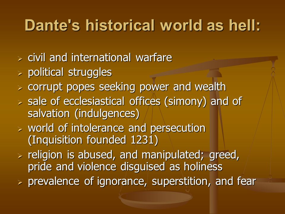 Dante s historical world as hell: