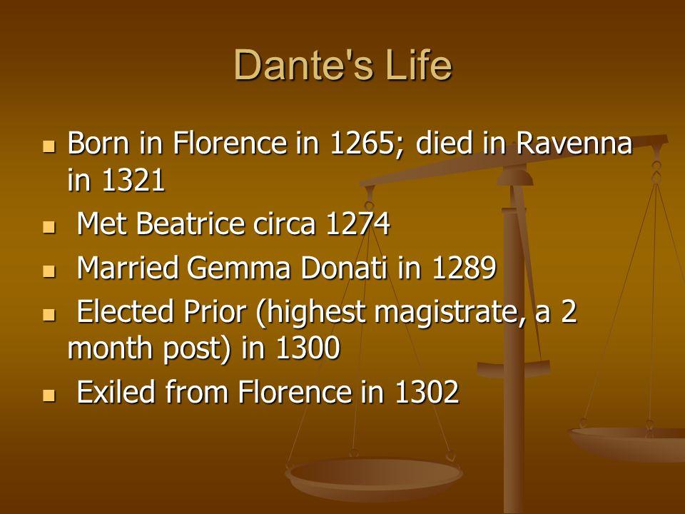 Dante s Life Born in Florence in 1265; died in Ravenna in 1321