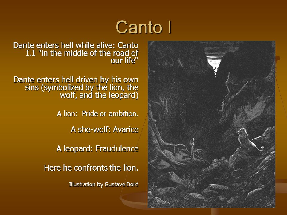 Canto I Dante enters hell while alive: Canto I.1 in the middle of the road of our life