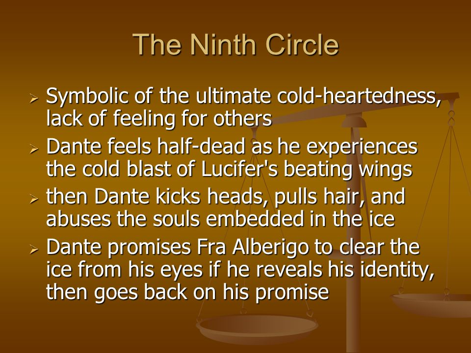 The Ninth Circle Symbolic of the ultimate cold-heartedness, lack of feeling for others.
