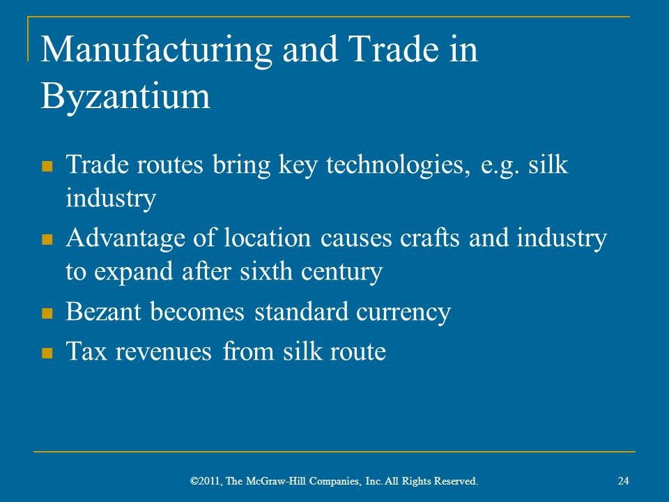 Manufacturing and Trade in Byzantium