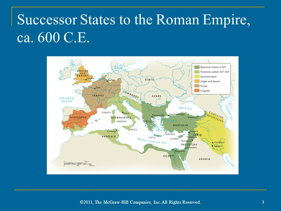 Successor States to the Roman Empire, ca. 600 C.E.