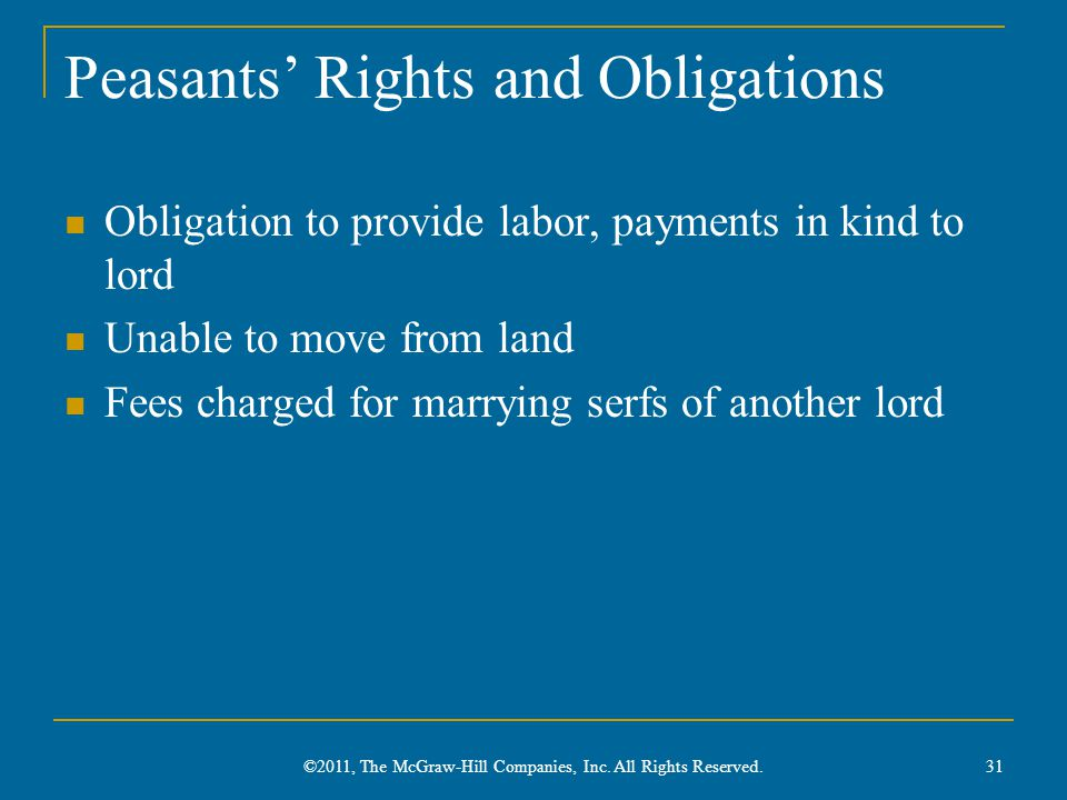 Peasants' Rights and Obligations