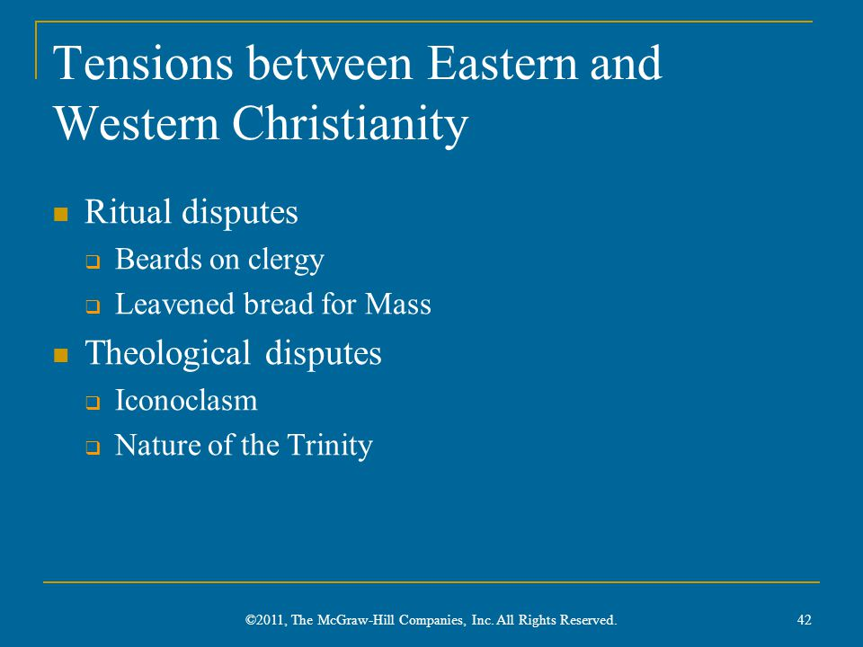 Tensions between Eastern and Western Christianity