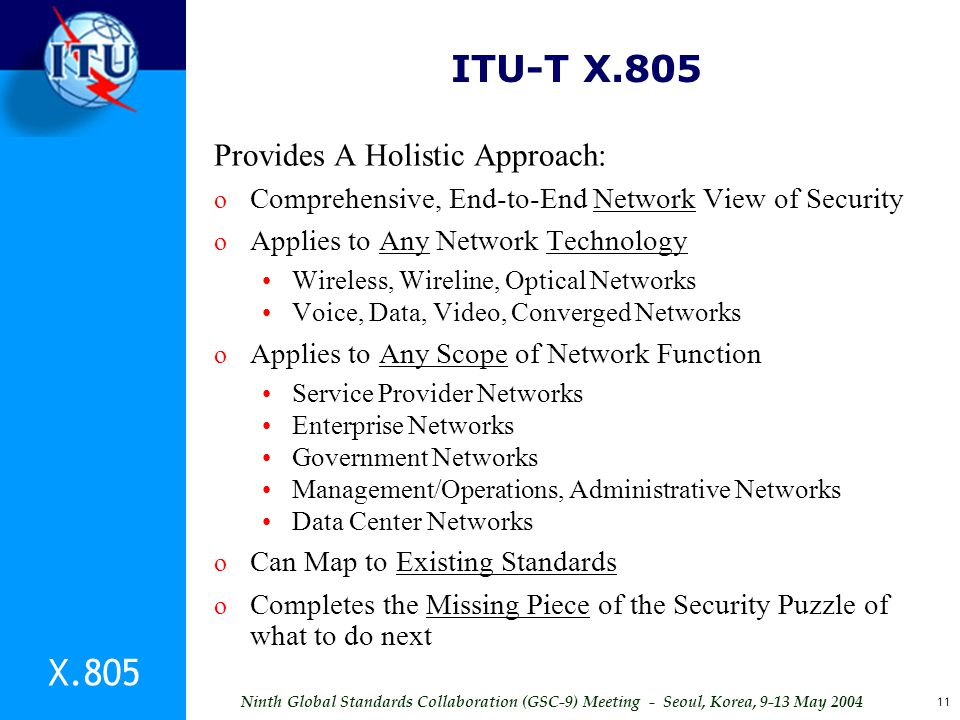 ITU-T X.805 X.805 Provides A Holistic Approach: