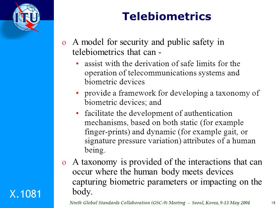 Telebiometrics A model for security and public safety in telebiometrics that can -