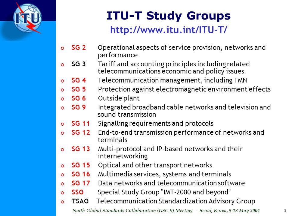 ITU-T Study Groups http://www.itu.int/ITU-T/