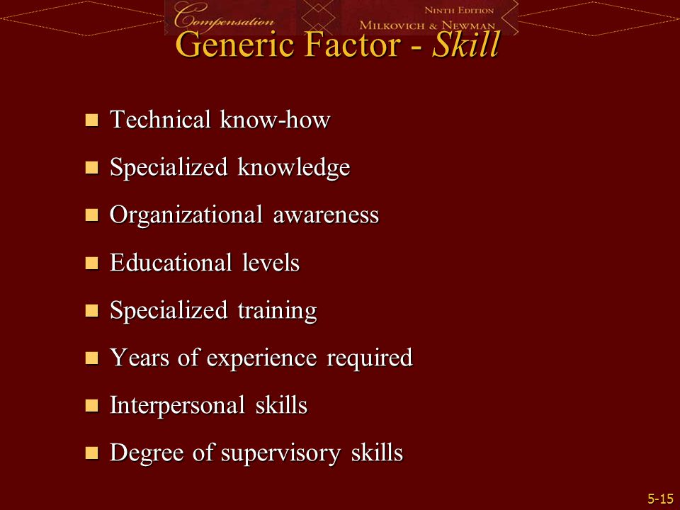 Generic Factor - Skill Technical know-how Specialized knowledge