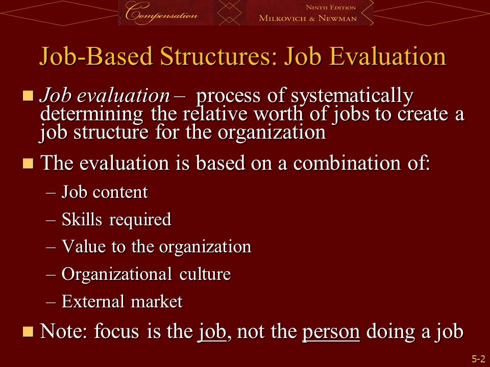 Job-Based Structures: Job Evaluation