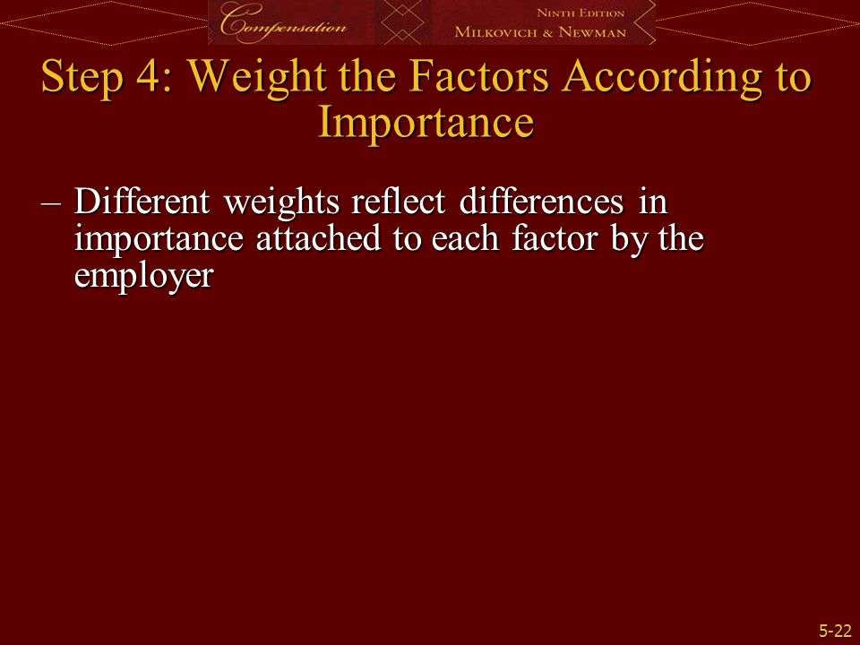 Step 4: Weight the Factors According to Importance