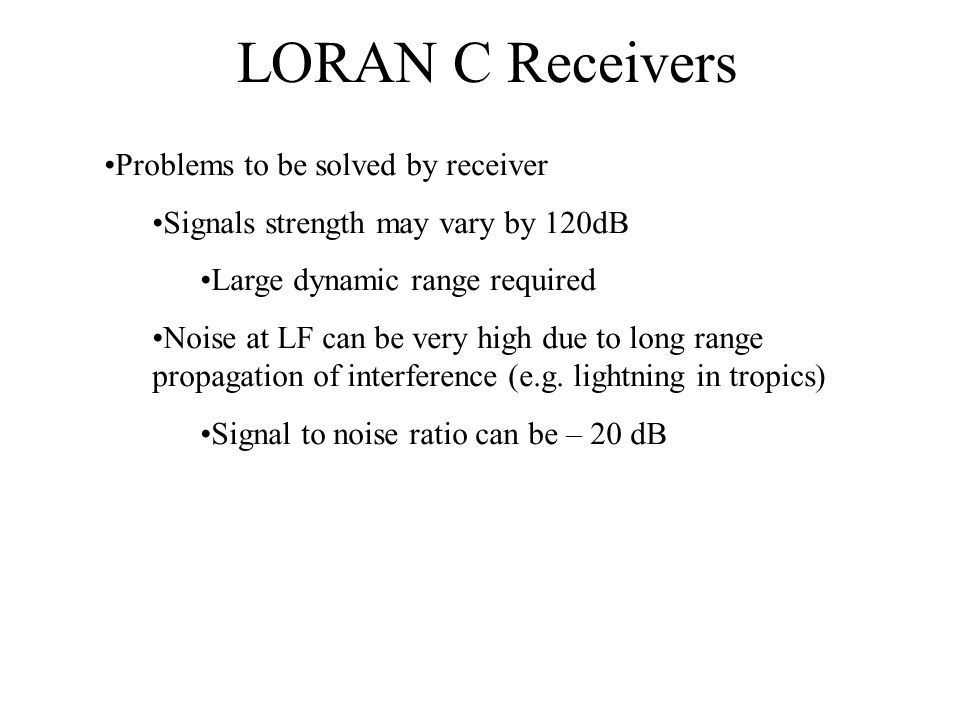 LORAN C Receivers Problems to be solved by receiver