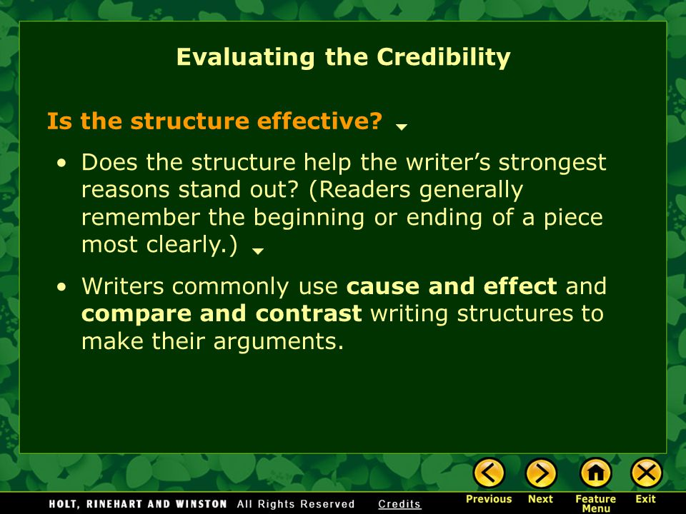 Evaluating the Credibility