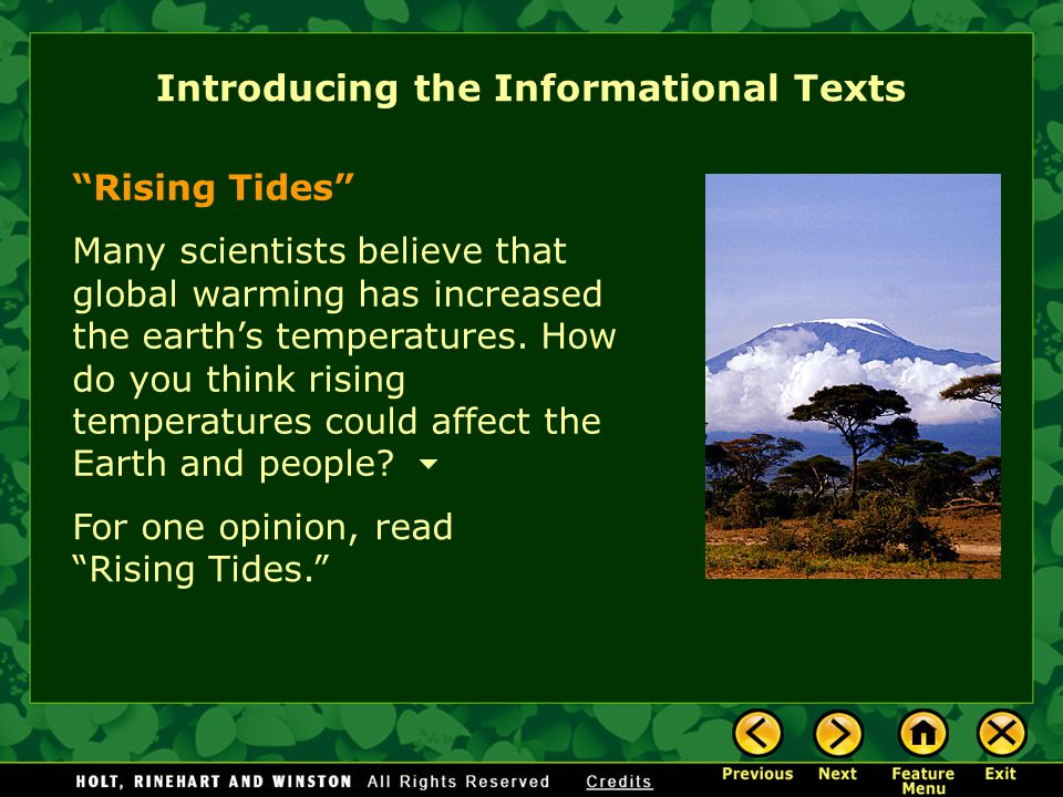 Introducing the Informational Texts