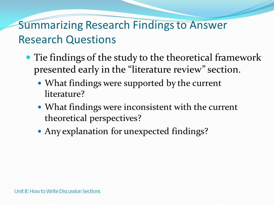 Summarizing Research Findings to Answer Research Questions