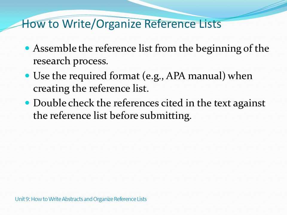 How to Write/Organize Reference Lists