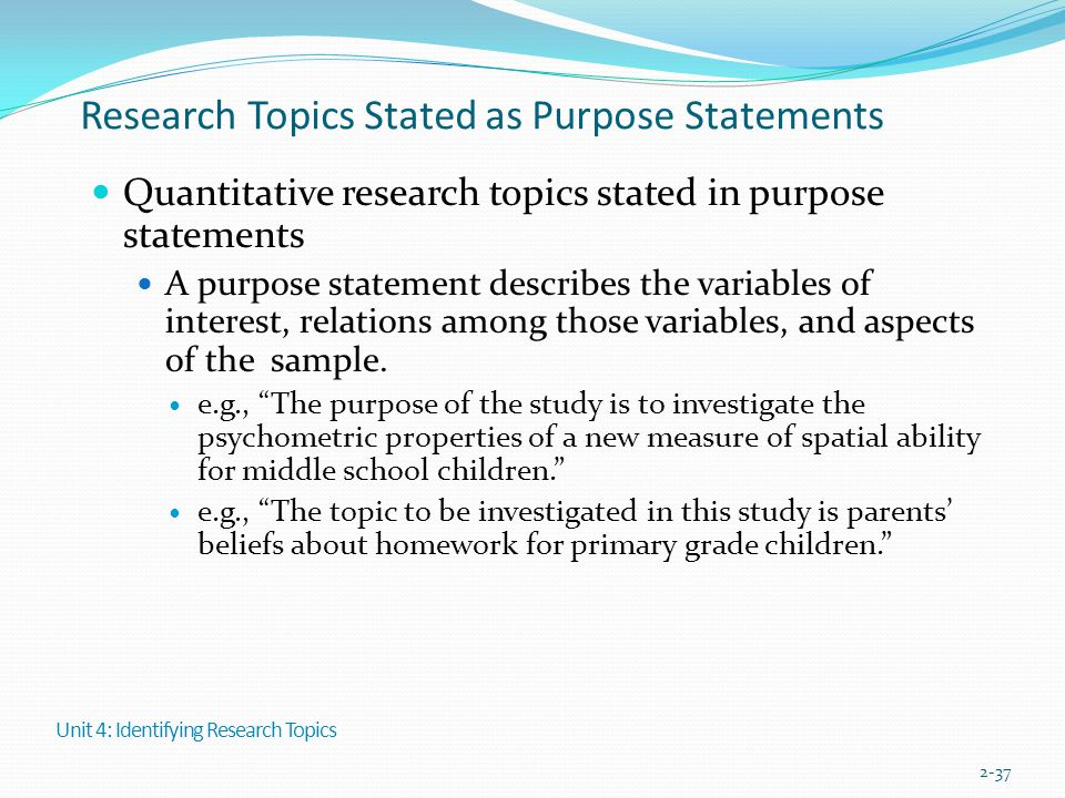 Research Topics Stated as Purpose Statements