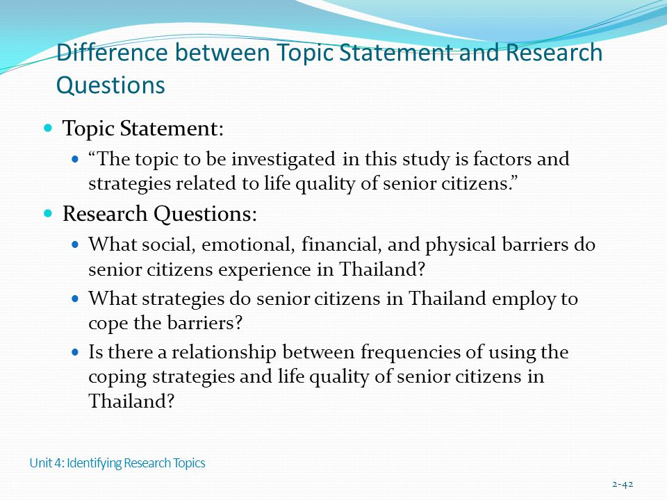 Difference between Topic Statement and Research Questions