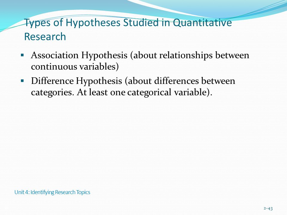 Types of Hypotheses Studied in Quantitative Research