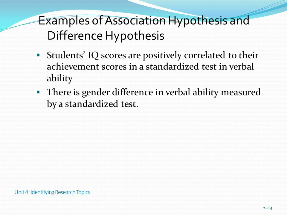 Examples of Association Hypothesis and Difference Hypothesis