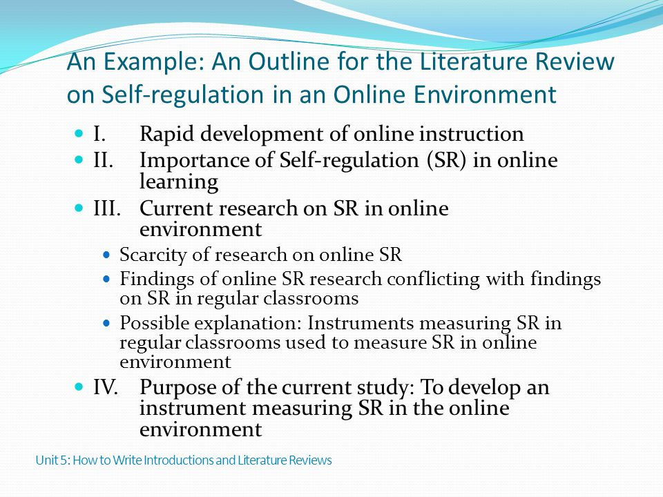 An Example: An Outline for the Literature Review on Self-regulation in an Online Environment