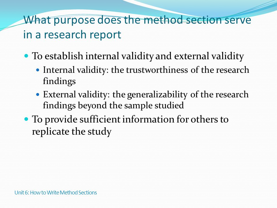 What purpose does the method section serve in a research report