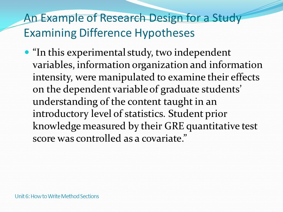 An Example of Research Design for a Study Examining Difference Hypotheses